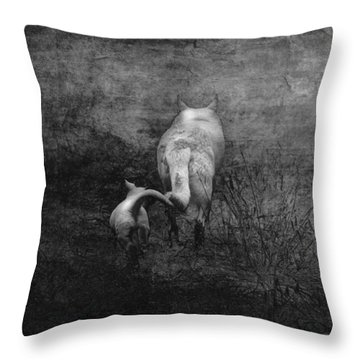 The First Hunt Throw Pillow by Ron Jones