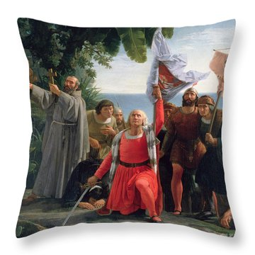 The First Landing Of Christopher Columbus In America Throw Pillow by  Dioscoro Teofilo Puebla Tolin