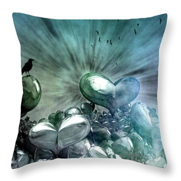 Throw Pillow featuring the digital art Lost Hearts by Gabiw Art