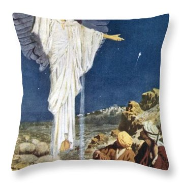 The First Noel Throw Pillow by William Henry Margetson