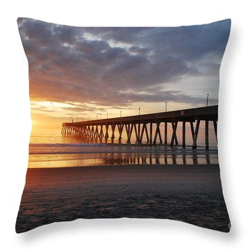 The First Sunrise Throw Pillow by Bob Sample