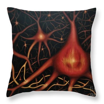 Throw Pillow featuring the painting The First Thought by Paula L