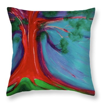 Throw Pillow featuring the painting The First Tree By Jrr by First Star Art