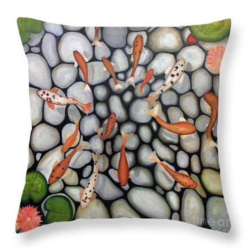 The Fish Pond Throw Pillow by John Stuart Webbstock