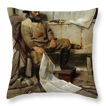 The Fisherman Throw Pillow by Frank Richards
