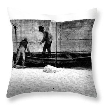 The Fishermen And The Sea... Throw Pillow by Chiara Corsaro