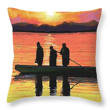 Throw Pillow featuring the painting The Fishermen by Sophia Schmierer