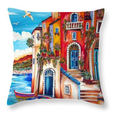 The Fishermen Villa By The Amalfi Coast Throw Pillow