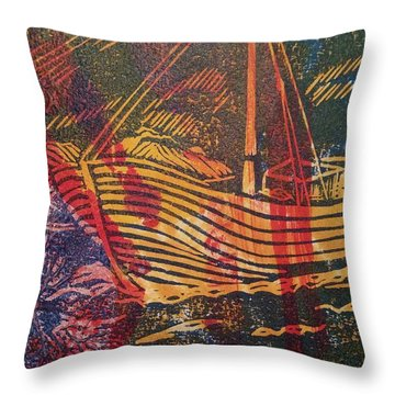The Fishing Boat Throw Pillow by Cynthia Lagoudakis