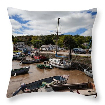 The Fishing Harbour At Cheekpoint Throw Pillow