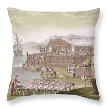 The Fishing Industry In Newfoundland Throw Pillow
