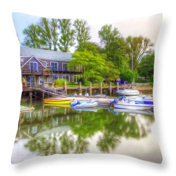 The Fishing Village Throw Pillow by Lanjee Chee
