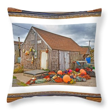 The Fishing Village Scene Throw Pillow by Betsy Knapp