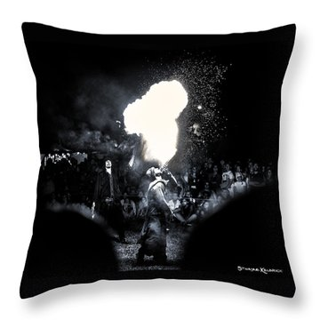 Throw Pillow featuring the photograph The Flare Thrower by Stwayne Keubrick