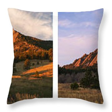 The Flatirons - Four Seasons Panorama Throw Pillow