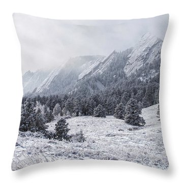 The Flatirons - Winter Throw Pillow by Aaron Spong
