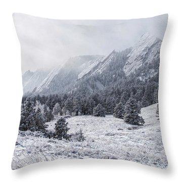 The Flatirons - Winter Throw Pillow