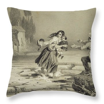 The Flight Of Eliza, Plate 3 From Uncle Throw Pillow by Adolphe Jean-Baptiste Bayot