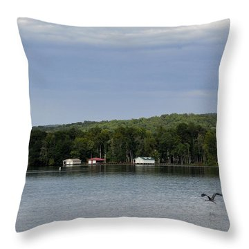 The Flight Of The Great Blue Heron Throw Pillow