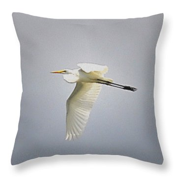 The Flight Of The Great Egret With The Stained Glass Look Throw Pillow