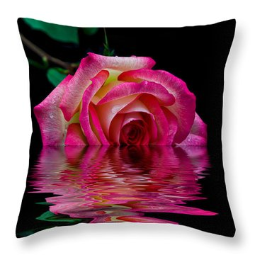 The Floating Rose Throw Pillow