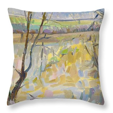 The Flooded Cherwell From Rousham II Oil On Canvas Throw Pillow