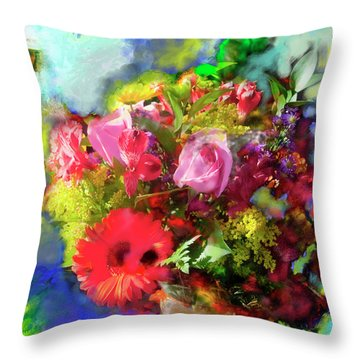 Throw Pillow featuring the painting The Florist by Ted Azriel