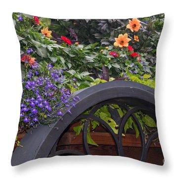 The Flower Cart Throw Pillow