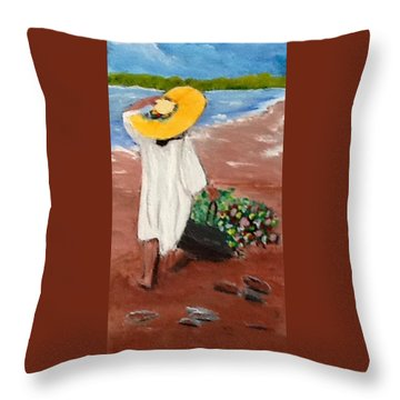 The Flower Girl Throw Pillow by Catherine Swerediuk