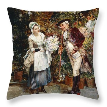 The Flower Girl Throw Pillow by Henry Gillar Glindoni