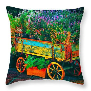 Throw Pillow featuring the photograph The Flower Market by Nicola Fiscarelli
