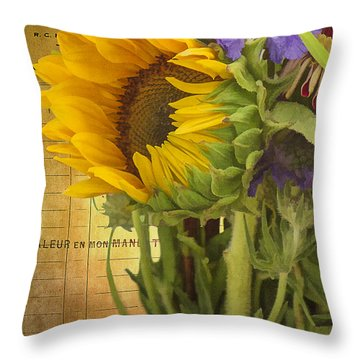 Throw Pillow featuring the photograph The Flower Market by Priscilla Burgers