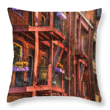 The Flower Pots On The Patio Throw Pillow by Paul Ward