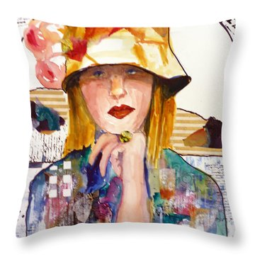 Throw Pillow featuring the mixed media The Flowered Hat by P Maure Bausch