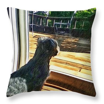 The Fluffy Watcher Throw Pillow