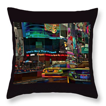 The Fluidity Of Light - Times Square Throw Pillow by Miriam Danar