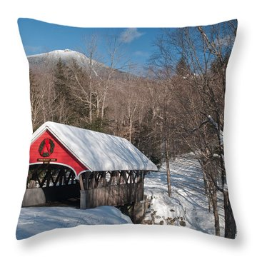 The Flume Bridge In Winter Throw Pillow