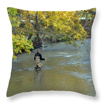 The Fly Fisherman Throw Pillow by Kay Novy