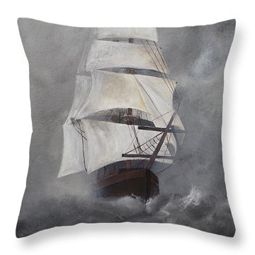 Throw Pillow featuring the painting The Flying Dutchman by Virginia Coyle