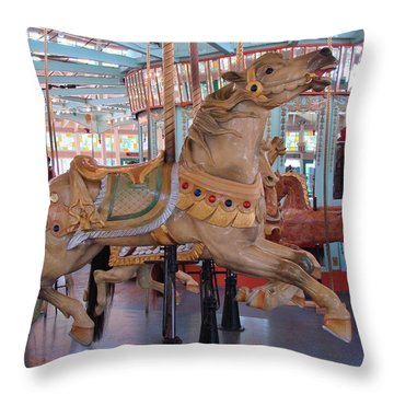 The Flying Horses Throw Pillow by Margaret Bobb