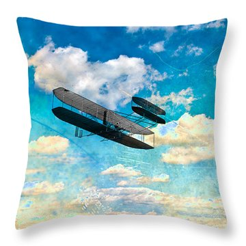 The Flying Machine Throw Pillow by Bill Cannon