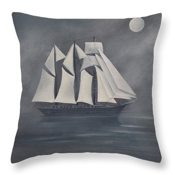 Throw Pillow featuring the painting The Fog by Virginia Coyle