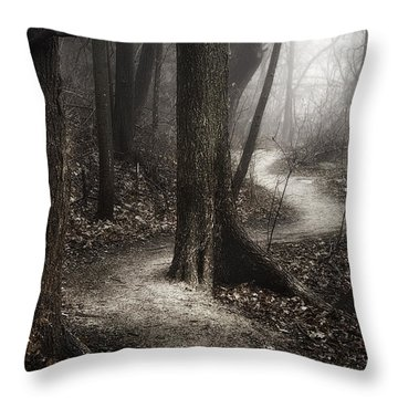 The Foggy Path Throw Pillow