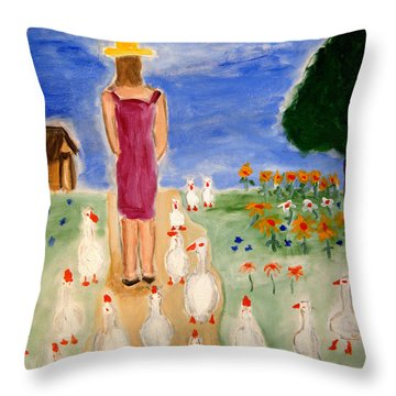 Throw Pillow featuring the painting The Following by Michael Dohnalek