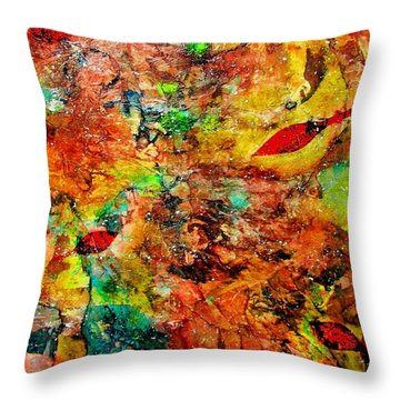 Throw Pillow featuring the painting The Forest Floor by Carolyn Repka