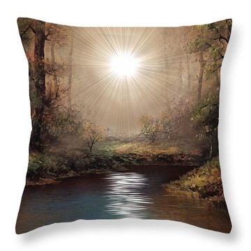 Sunrise Forest  Throw Pillow