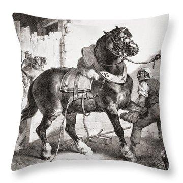 The Forge, From Etudes De Cheveaux, 1822 Throw Pillow