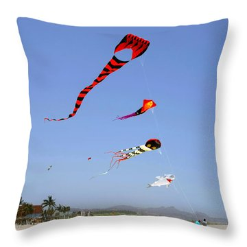 Throw Pillow featuring the photograph The Forgotten Joy Of Soaring Kites by Christine Till