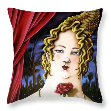 Throw Pillow featuring the painting the Forgotten Woman by Valerie White