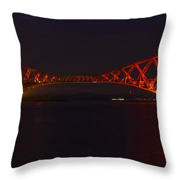 The Forth Bridge By Night Throw Pillow